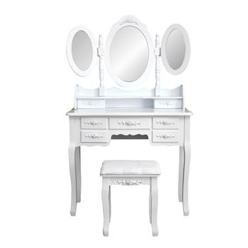 Foldable 3 Mirrors with 7 Drawers Dressing Table White