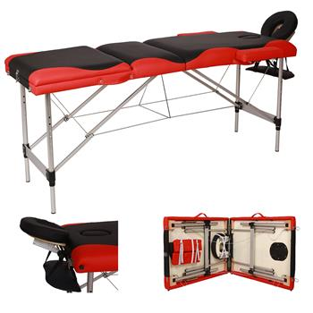 3 Sections Folding Aluminum Tube SPA Bodybuilding Massage Table Black with Red Edge