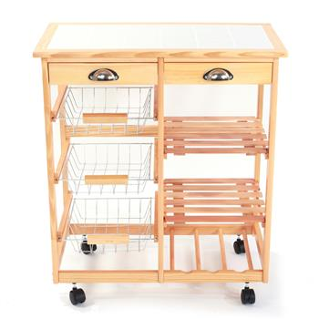 [US-W]Kitchen & Dining Room Cart 2-Drawer Removable Storage Rack with Rolling Wheels Wood Color