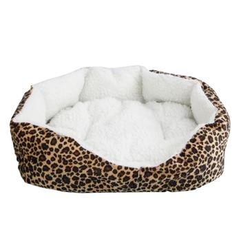 [US-W]Soft Cotton Pet Dog Puppy Warm Waterloo Bed Nest with Pad Size S Leopard Print Brown