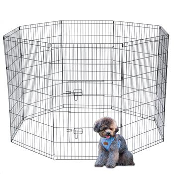 """42"""" Tall Wire Fence Pet Dog Cat Folding Exercise Yard 8 Panel Metal Play Pen Black"""