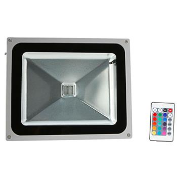 50W RGB Aluminium Alloy LED Flood Light with IP65 Waterproof & Remote Control Gray (AC 90-260V)