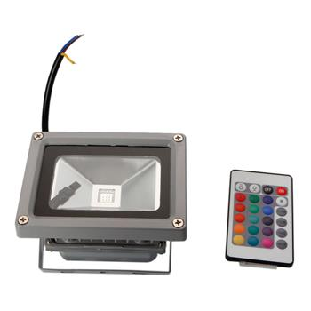 10W IP65 Waterproof RGB Aluminium Alloy LED Flood Light with Remote Control & Memory (AC 90-260V) Gr