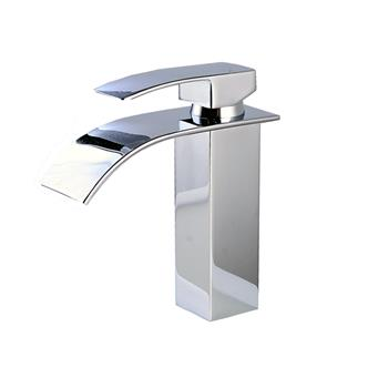 Single Handle Waterfall Spout Chrome Bath Basin Sink Faucet Mixer Tap Bright Silver