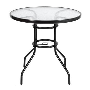 [US-W]Outdoor Dining Table Round Toughened Glass Table Yard Garden Glass Table