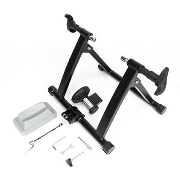 Fixed Non-linear Control Magnetic Reluctance Bike Trainer with Front Wheel Riser Block and Quick Dem