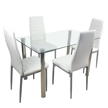 110cm Dining Table Set Tempered Glass Dining Table with 4pcs Chairs Transparent & Creamy White