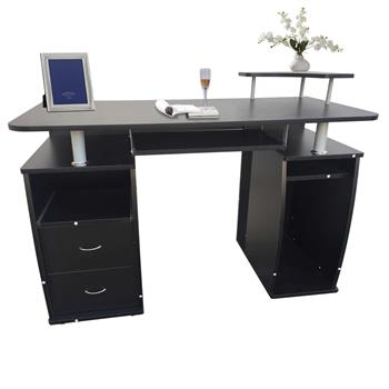 Integrated Melamine Board Computer Desk with Drawers Black