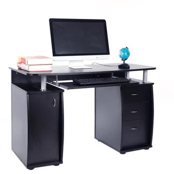 15mm MDF Portable 1pc Door with 3pcs Drawers Computer Desk Black