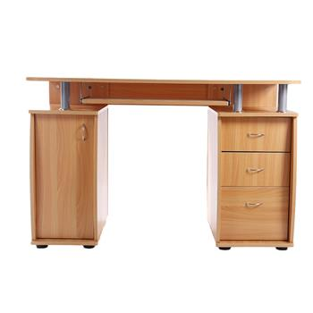 15mm MDF Portable 1pc Door with 3pcs Drawers Computer Desk Wood Color