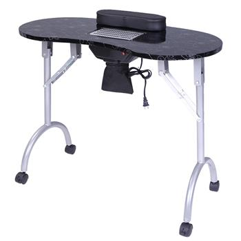 [US-W]Portable MDF Manicure Table Spa Beauty Salon Equipment Desk with Dust Collector & Cushion & Fan Black