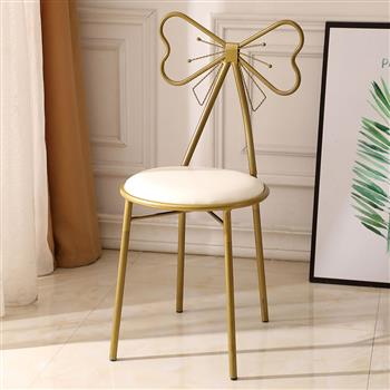 FCH Butterfly Backrest Wrought Iron Leather Makeup Stool Dressing Stool White
