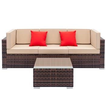 Fully Equipped Weaving Rattan Sofa Set with 2pcs Corner Sofas & 1pcs Single Sofas & 1 pcs Coffee Table Brown Gradient