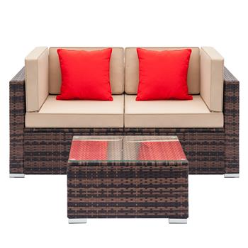 Fully Equipped Weaving Rattan Sofa Set with 2pcs Corner Sofas & 1 pcs Coffee Table Brown Gradient