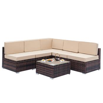 Fully Equipped Weaving Rattan Sofa Set with 1pcs Corner Sofas & 4pcs Single Sofas & 1 pcs Coffee Table Brown Gradient