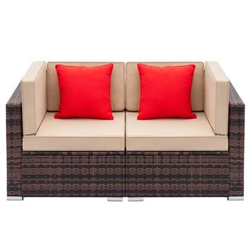 Fully Equipped Weaving Rattan Sofa Set with 2pcs Corner Sofas Brown Gradient