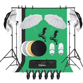 "Kshioe 135W Silver Black Umbrellas with Background Stand Non-Woven Fabrice (Black & White & Green) Set US + 43"" 110cm Five-in-One Folding Reflector Set"