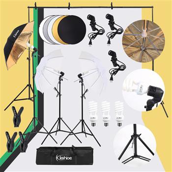 "Kshioe 45W Photo Photography Umbrella Lighting Kit Studio Light Bulb Non-Woven Fabric Backdrop Stand  with 43"" 110cm Five-in-One Folding Reflector Set"
