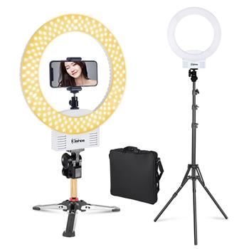 "Kshioe 12"" LED Ring Lights and 2m Light Stands US Standard White with  Mini Tabletop Tripod Special for Ring Lamp"