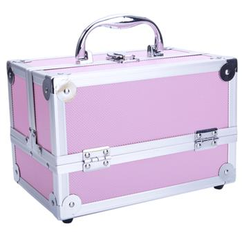 """SM-2176 Aluminum Makeup Train Case Jewelry Box Cosmetic Organizer with Mirror 9""""x6""""x6"""" Pink"""