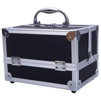 "SM-2176 Aluminum Makeup Train Case Jewelry Box Cosmetic Organizer with Mirror 9""x6""x6"" Black"