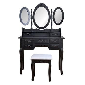 [US-W]Foldable 3 Mirrors with 7 Drawers Dressing Table Black