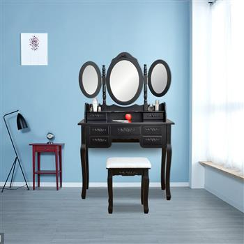 Foldable 3 Mirrors with 7 Drawers Dressing Table Black