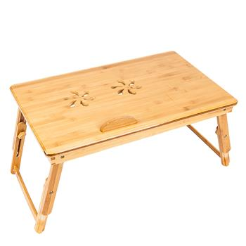 [US-W]53cm Trendy Double Flowers Engraving Pattern Adjustable Bamboo Computer Desk Wood Color