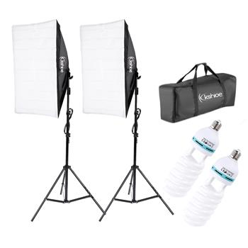 Kshioe 135W Bulb 5070 Single Head Soft Light Box Two Lights Set US Plug