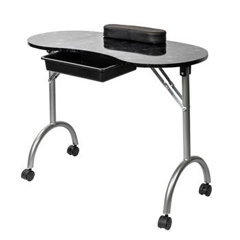 [US-W]Portable MDF Manicure Table with Arm Rest & Drawer Salon Spa Nail Equipment Black
