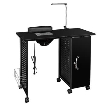 [US-W]Manicure Nail Table Station Steel Frame Beauty Salon Equipment Drawer with LED Lamp Black