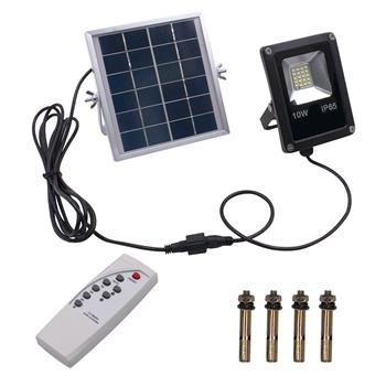 10W 4500LM 20-LED White Light IP65 Waterproof LED Solar Flood Light with Remote Control Black