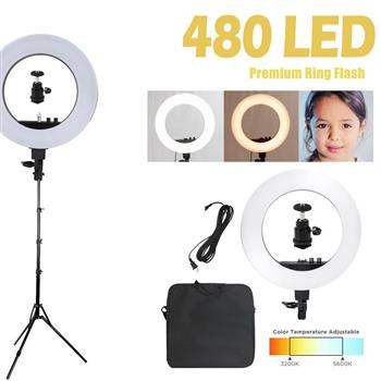 "[US-W]Kshioe 18"" LED Ring Lights and 2m Light Stands US Standard Silver"
