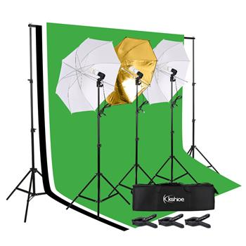 [US-W]Kshioe 45W Photo Photography Umbrella Lighting Kit Studio Light Bulb Non-Woven Fabric Backdrop Stand