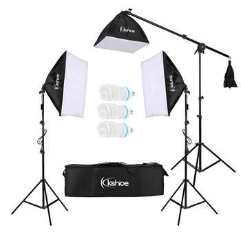 [US-W]Kshioe 65W Photo Studio Photography 3 Soft Box Light Stand Continuous Lighting Kit Diffuser