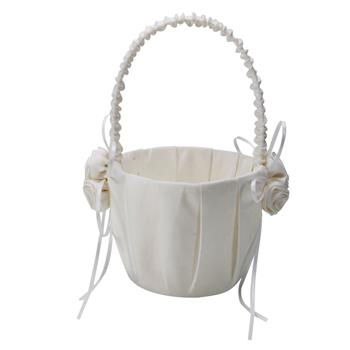 Wedding Satin Flower Girl Basket White