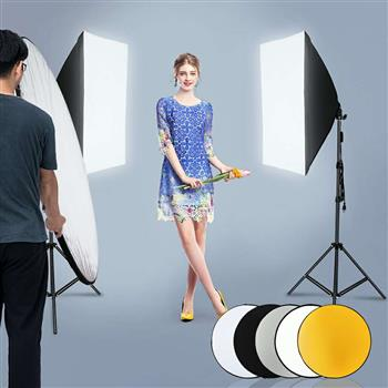 "Kshioe 135W Bulb 5070 Single Head Soft Light Box Two Lights Set US Plug with 43"" 110cm Five-in-One Folding Reflector Set (The product has a risk of infringement on the Amazon platform)"