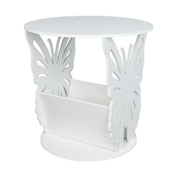 Simple Round Butterfly Pattern Side Table White