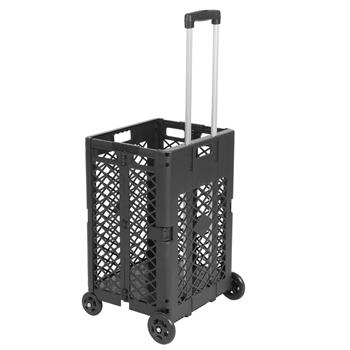 4 Wheels Mesh Rolling Utility Cart, Folding and Collapsible Hand Crate,55 Lbs Capacity