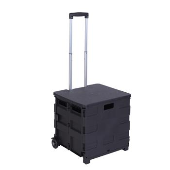 2 Wheels Rolling Utility Cart, Heavy Duty Light Weight 80LB Load Capacity Collapsible Handcart with Black Lid