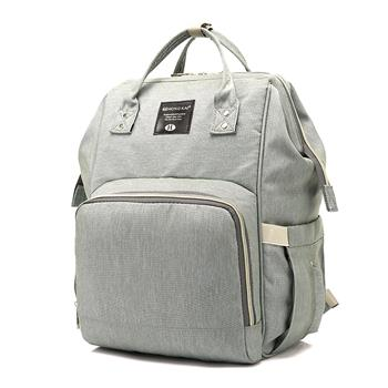 [US-W]Baby Diaper Bag Multi-Function Travel Backpack Baby Nappy Changing Mommy Bags Beige Gray
