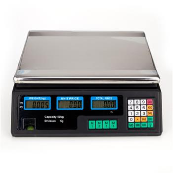ACS-30 40kg/5g Digital Price Computing Scale for Vegetable UK Plug Silver & Black