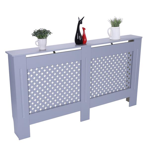 MDF Wood Radiator Cover Board Plum Blossom Pattern Gray Painted L