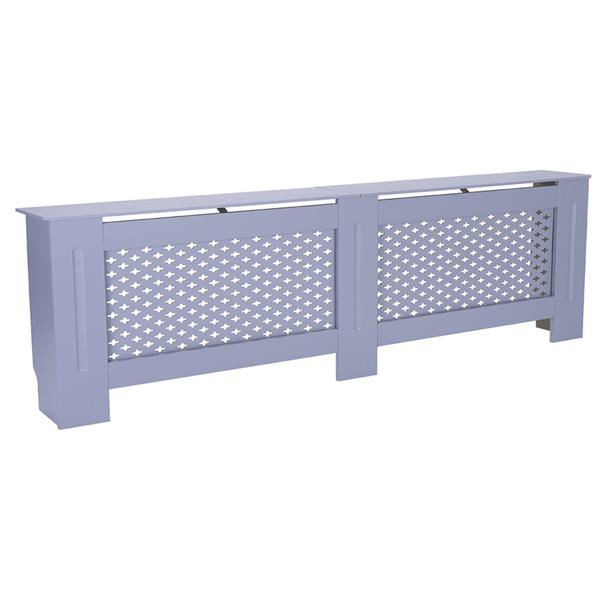 MDF Wood Radiator Cover Board Plum Blossom Pattern Gray Painted XL
