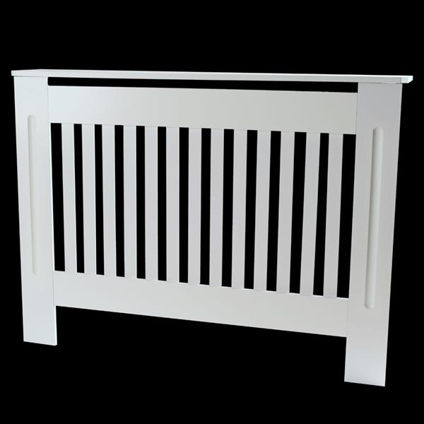 Simple Traditional Design Ventilated E1 MDF Board Vertical Stripe Pattern Radiator Cover White M