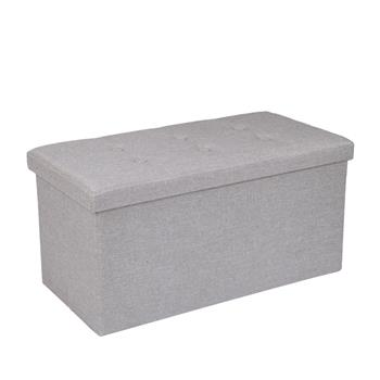 Practical Hessian Rectangle Shape Surface with Leather Button Footstool Beige