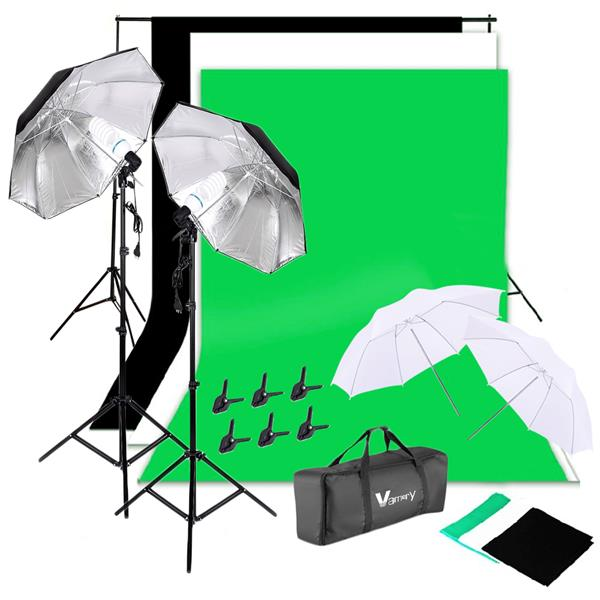 Vamery 135W Silver Black Umbrellas with Background Stand Non-Woven Fabric (Black & White & Green) Set UK
