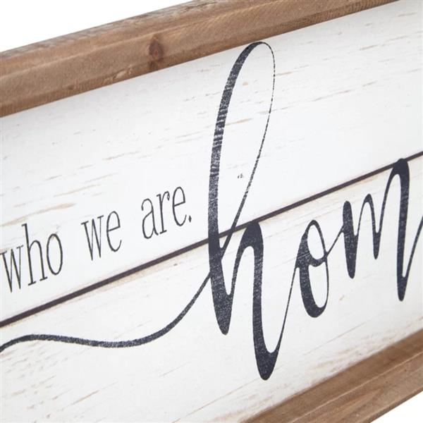 A Story of Who We are White Background Wood Framed Wood Wall Decor Sign Plaque 23.6 x 1.2 x 6 inches