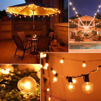 G30 125pcs Light Bulb Outdoor Yard Lamp String Light with  Black Lamp Wire
