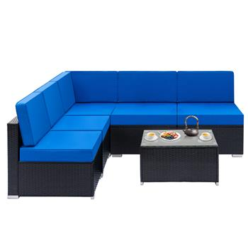 Fully Equipped Weaving Rattan Sofa Set with 1pcs Corner Sofas & 4pcs Single Sofas & 1 pcs Coffee Table Black